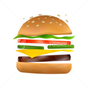 Floating burger with flying ingredients: pickles, tomato, cheese, beef patty, lettuce, toasted sesame bun. Classic burger icon. Cartoon vector illustration of American hamburger on white background - PrintStocker.com
