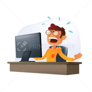 Shouting and irritated businessman character at the desk behind the monitor. Vector illustration of a cartoon freelancer or employee in eyeglasses with annoyed emotion isolated on a white background - PrintStocker.com