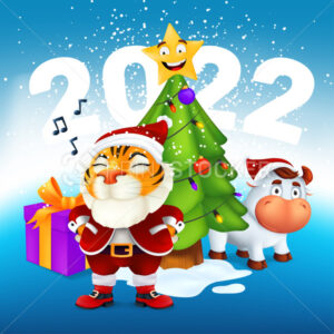 A cute tiger in Santa costume stands near a Christmas tree, bull, gift and the inscription 2022. Vector illustration of the symbol of the year to the Chinese zodiac calendar. New Year Greeting Card - PrintStocker.com