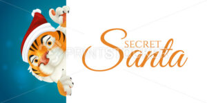 Cute Tiger in Santa's red hat – symbol of the year by Chinese calendar. Smiling Christmas character in traditional costume peeking from behind a sign with the Secret Santa lettering isolated on white - PrintStocker.com