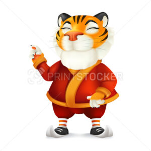 Cute and funny cartoon Tiger character in Santa's costume – symbol of the year by Chinese Eastern calendar. Vector illustration of a smiling mascot in Christmas clothes isolated on a white background - PrintStocker.com
