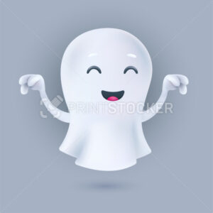 Cute cartoon flying ghost in a frightening pose. Friendly phantom icon. Smiling 3D character with raised hands. Vector illustration of a soul in a white textile cloth isolated on a light background - PrintStocker.com