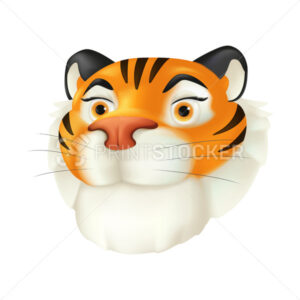 Cute cartoon red tiger head. Vector funny illustration of a striped wildlife animal character with a smiling facial emotion isolated on a white background. Symbol of the year by the Chinese calendar - PrintStocker.com
