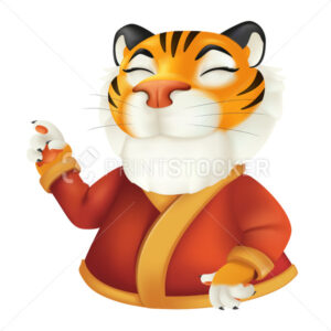 Cute cartoon smiling tiger character in red clothes. Vector illustration of a funny striped wildlife animal isolated on a white background. Symbol of the year by the Chinese calendar - PrintStocker.com