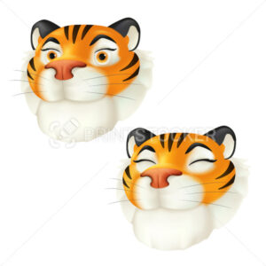 Cute cartoon smiling tiger head. Zodiac symbol of the year by the Chinese calendar. Vector funny illustration of a striped wildlife animal character isolated on a white background. 3D icon - PrintStocker.com