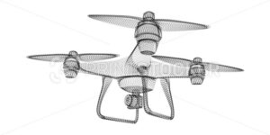Drone silhouette consisting of black dots and particles. 3D vector wireframe of a Quadrocopter with a grain texture. Abstract geometric icon with dotted structure isolated on a white background - PrintStocker.com