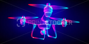 Flying drone with an aerial photo or action video camera. Outline vector Quadrocopter wireframe in a fluorescent neon line art style. 3D abstract illustration on a dark blue background - PrintStocker.com