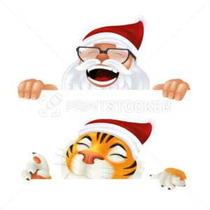 Funny cartoon Santa Claus and Tiger – symbol of the year by Chinese calendar. Laughing and smiling Christmas characters peeking from behind the horizontal corner or a sign isolated on white background - PrintStocker.com