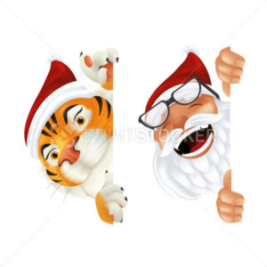Funny cartoon Santa Claus and Tiger – symbol of the year by Chinese calendar. Laughing and smiling Christmas characters peeking from behind the vertical corner or a sign isolated on white background - PrintStocker.com