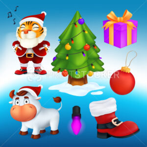 Vector set of cartoon Christmas characters and decoration elements: a tree, gift box, red boot, garland lamp, ball, Tiger in Santa's costume, white bull – a symbol of the year by Chinese calendar - PrintStocker.com