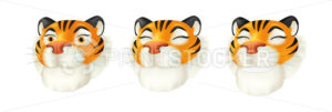 Vector set of cartoon red tiger heads – symbol of the year by the Chinese calendar. Illustration of a striped wildlife animal character with a smiling facial emotion isolated on a white background. - PrintStocker.com