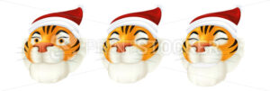 Vector set of cute cartoon red tiger heads with smiling facial emotions. Illustration of a striped animal character in Santa's costume – symbol of the year by the Chinese calendar isolated on a white - PrintStocker.com