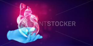 3D human heart silhouette on a doctor's hand in a blue rubber glove. Anatomical medical concept with the wireframe of a human organ on abstract background. Vector illustration in neon lineart style - PrintStocker.com