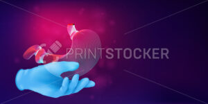3D silhouette of a human stomach on a hand in a blue rubber glove. Anatomical medical concept with the contour of a human organ on abstract background. Vector illustration in neon line art style - PrintStocker.com