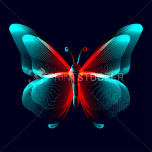 Butterfly neon silhouette in line art style. 3D vector illustration of glowing papillon contour top view isolated on a dark background - PrintStocker.com