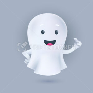 Funny cartoon flying ghost smiling and showing a thumbs up. Friendly phantom icon. Happy Halloween 3D character. Vector illustration of a soul in a white textile cloth isolated on a light background - PrintStocker.com