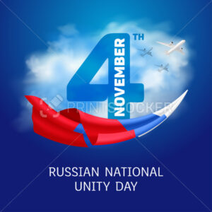 Greeting card or banner to Russian National Unity Day – 4th November. Vector illustration to holiday in Russia with a national tricolor flag on blue sky background with clouds - PrintStocker.com
