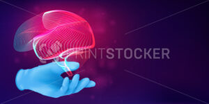 Human brain 3D silhouette on a doctor's hand in a realistic rubber glove. Anatomical medical concept with the contour of a human organ on abstract background. Vector illustration in neon lineart style - PrintStocker.com