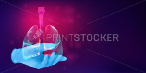 Human lungs on a doctor's hand in a realistic rubber glove. 3D anatomical medical concept with the silhouette of a human organ on abstract background. Vector illustration in neon line art style - PrintStocker.com