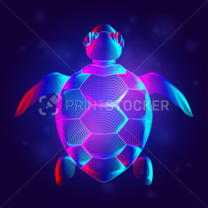 Sea turtle silhouette in neon line art style. Abstract hologram or a digital outline of a swimming tortoise. 3D vector illustration of a wild ocean turtle top view on a dark blue background - PrintStocker.com