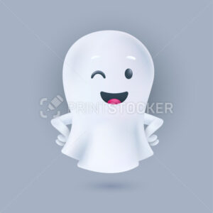 Smiling and winking ghost with hands on the sides pose. Friendly phantom icon. Happy Halloween 3D character. Vector illustration of cute soul in a white textile cloth isolated on a light background - PrintStocker.com