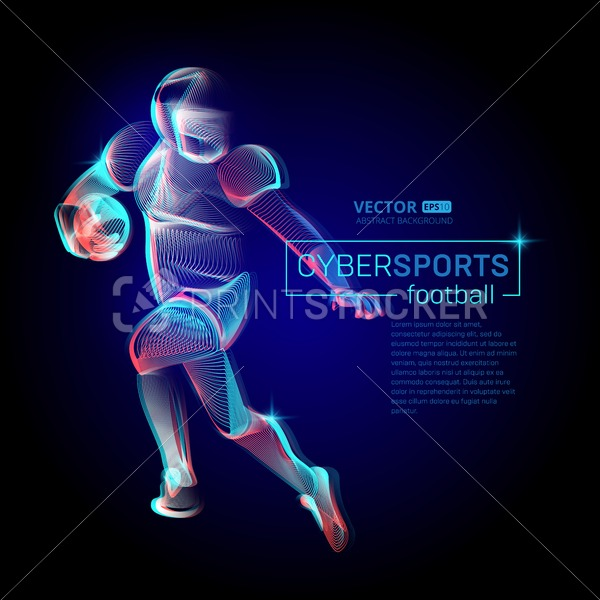 Abstract american football or rugby player male figure in running action moving pose human silhouette Vector cyber sports outline shape contour illustration line art style - PrintStocker.com