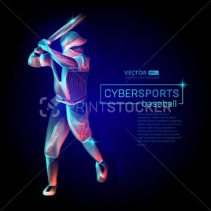 Abstract baseball player male figure with bat in batter action moving pose human silhouette Vector cyber sports outline shape contour illustration in line art style - PrintStocker.com