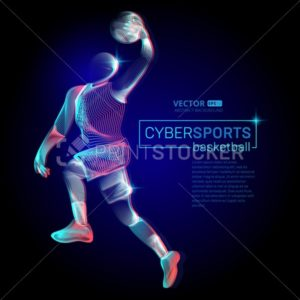 Abstract basketball dribble player male figure in jumping action moving pose human silhouette Vector cyber sports outline shape contour illustration in line art style - PrintStocker.com