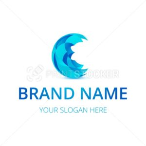 Abstract blue sphere logo design or corporate identity brand - PrintStocker.com