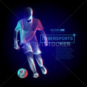 Abstract football or soccer player male figure in running action moving pose human silhouette Vector cyber sports game outline shape contour illustration in line art style - PrintStocker.com