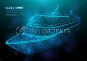 Abstract polygonal marine ship or boat with texture of starry sky - PrintStocker.com
