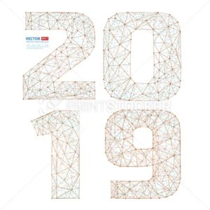 Abstract polygonal numbers for New Year 2019 with texture of starry sky or space universe - PrintStocker.com