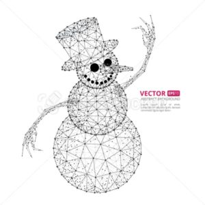 Abstract polygonal snowman with texture of starry sky or space universe - PrintStocker.com
