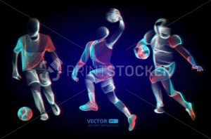 Abstract sport game competition player male figure in action jumping and running moving pose human silhouette Vector outline shape contour illustration in line art style - PrintStocker.com