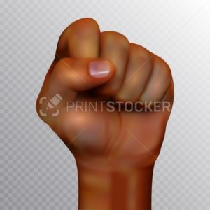 African american human fist raised up isolated on transparent background. Realistic vector illustration - PrintStocker.com