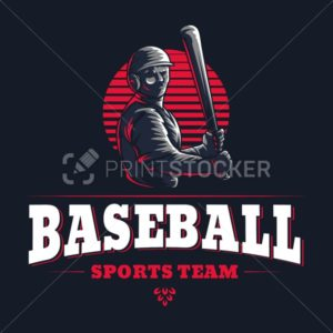 Baseball sports team club emblem engraved retro vintage logo graphic design template with game player silhouette isolated on black background - PrintStocker.com