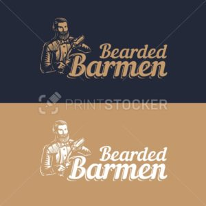 Bearded barmen, barkeeper or bartender in work silhouette with shaker logo design on black background – Hand drawn man with beard and mustache vector illustration - PrintStocker.com