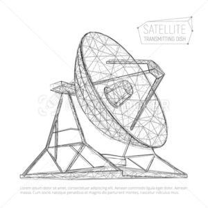 Black abstract polygonal satellite dish for space exploration - PrintStocker.com