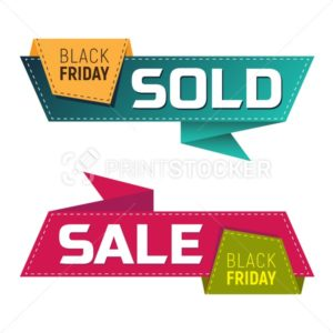 Black friday sold and sale banners or labels for marketing promotion - PrintStocker.com