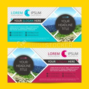 Business flyer design  horizontal template with blur background and place for your text - PrintStocker.com