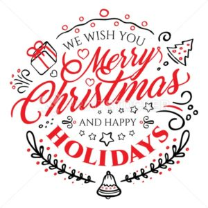 Calligraphic lettering for Merry Christmas and Happy New Year isolated on white background - PrintStocker.com