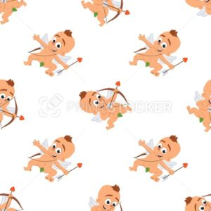 Cupid angel love character seamless vector pattern for Valentine day or wedding dating Amur in different poses Eros greek mythology god or cherub baby with bow and arrow textile - PrintStocker.com