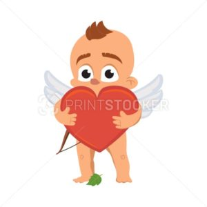 Cupid angel love character vector illustration for Valentine day or wedding dating surprised naked Amur Eros greek mythology god or cherub baby with red heart emoji - PrintStocker.com