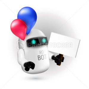 Cute flying robot with red and blue balloons holding a sign without text in his hand - PrintStocker.com
