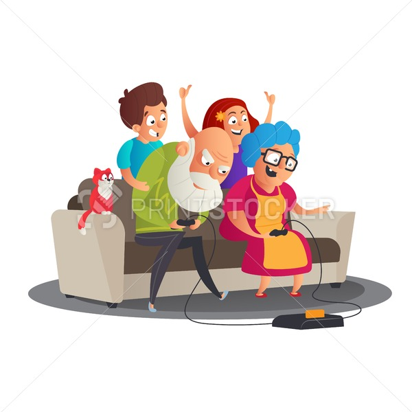 Cute happy Family portrait with Happy grandparents and grandchildren playing video game console on sofa together. Grandparents' Day vector cartoon illustration - PrintStocker.com