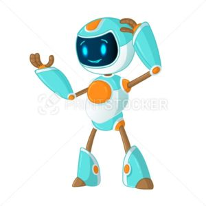 Cute smiling customer online support service chat bot, searching school education robot or mobile application virtual assistance. Flat vector cartoon mascot character illustration isolated on white - PrintStocker.com