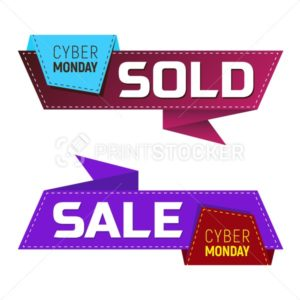 Cyber monday sold and sale banners or labels for marketing promotion - PrintStocker.com