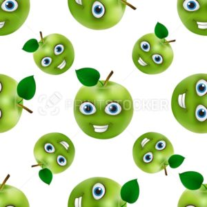 Funny and cute Green Apple cartoon vector mascot character seamless pattern isolated on white background - PrintStocker.com