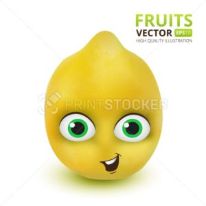 Funny and cute Lemon cartoon mascot character. Vector illustration isolated on white background - PrintStocker.com