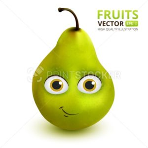 Funny and cute Pear cartoon mascot character. Vector illustration isolated on white background - PrintStocker.com